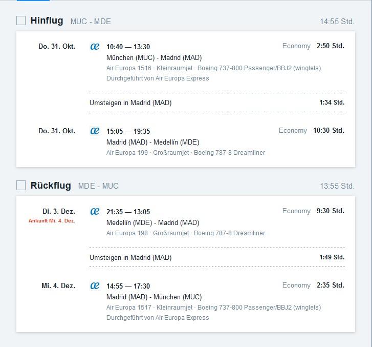 Billigflug von München nach Medellin
